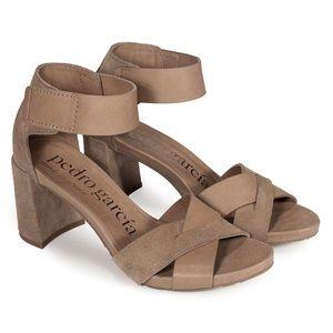 PEDRO GARCIA Whimsy Block Heel Sandals Taupe